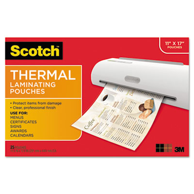 Menu size thermal laminating pouches, 3 mil, 17 1/2 x 11 1/2, 25 per pack, sold as 1 package
