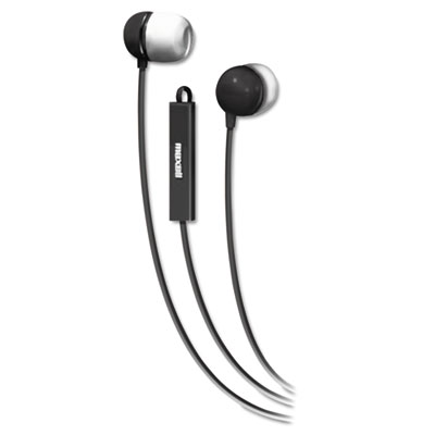 In-ear buds with built-in microphone, black/white, sold as 1 each