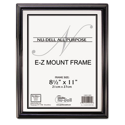 Ez mount document frame, plastic, 8 1/2 x 11, black, sold as 1 each