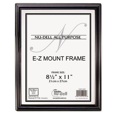 Ez mount document frame, plastic, 8 1/2 x 11, black, sold as 1 each