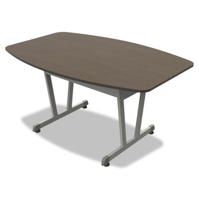 Trento line conference table, 59-1/8w x 39-1/2d x 29-1/2h, mocha/metallic gray, sold as 1 each