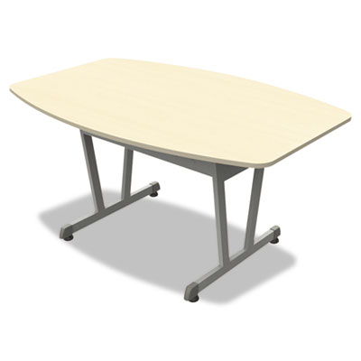 Trento line conference table, 59-1/8w x 39-1/2d x 29-1/2h, oatmeal/metallic gray, sold as 1 each