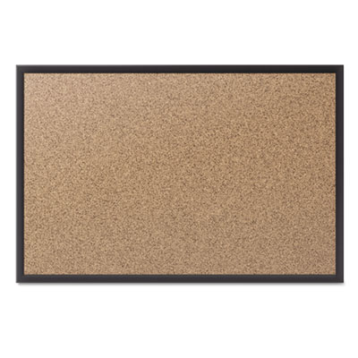 Classic cork bulletin board, 36x24, black aluminum frame, sold as 1 each