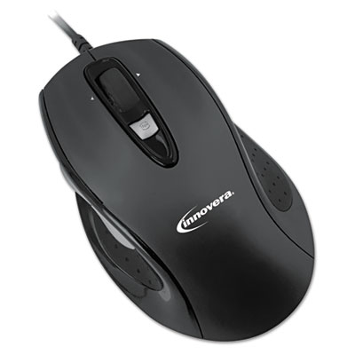 Full-size wired optical mouse, usb, black, sold as 1 each