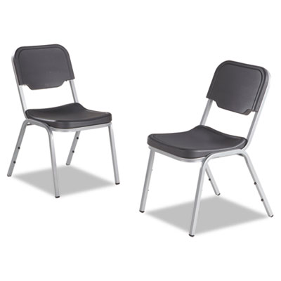 Rough n ready series original stackable chair, black/silver, 4/carton, sold as 1 carton, 4 each per carton