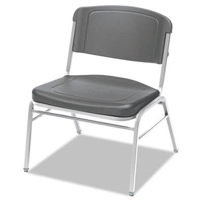 Rough n ready series big & tall stackable chair, charcoal/silver, 4/carton, sold as 1 carton, 4 each per carton