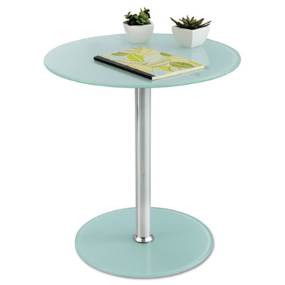 "Glass accent table, tempered glass/steel, 17"" dia. x 19"" high, white/silver, sold as 1 each"