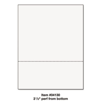 "Office paper, perforated 3 1/2"" horizontal from bottom, 8 1/2 x 11, 24lb, 500/rm, sold as 1 ream"