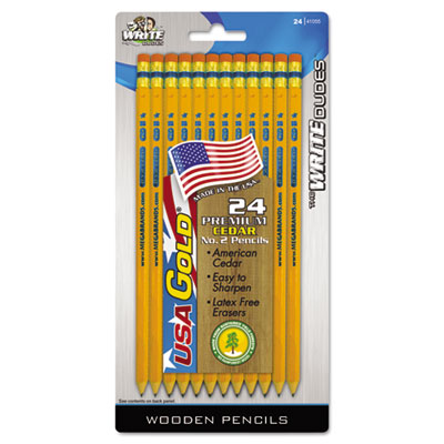 Usa gold series #2 pencils, cedar, yellow, 24/pack, sold as 1 package