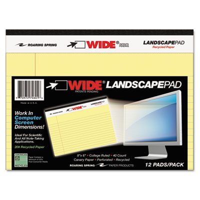 Wide landscape format writing pad, college ruled, 8 x 6, canary, 40 sheets, sold as 1 pad
