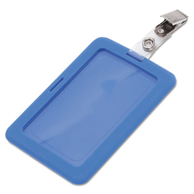 Rubberized badge holder, 2 1/2 x 3 3/4, horizontal/vertical, blue, 5/pk, sold as 1 package
