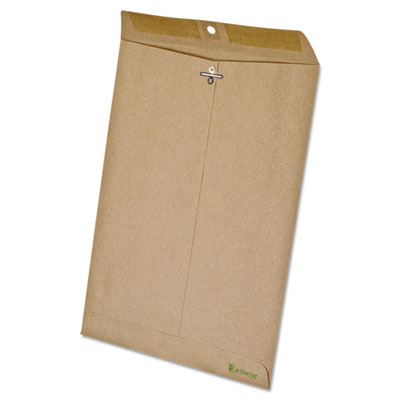 Earthwise 100% recycled paper clasp envelope, side seam, 9 x 12, brown, 110/box, sold as 1 box, 110 each per box