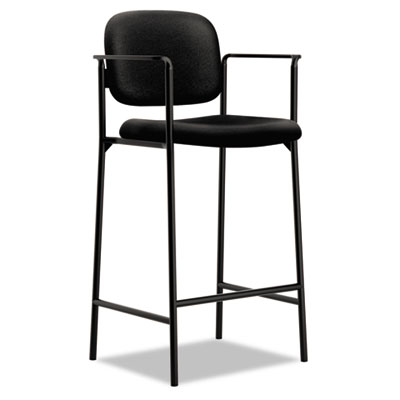 Vl636 series caf?-height stool, 100% polyester, black back/seat, 2/carton, sold as 1 carton, 2 each per carton
