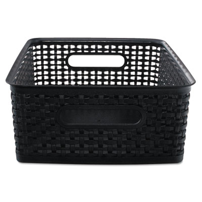 Weave bins, 13 7/8 x 10 1/2 x 4 3/4, plastic, black, 2 bins, sold as 1 package