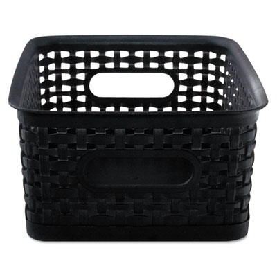 Weave bins, 9 7/8 x 7 3/8 x 4, plastic, black, 3 bins, sold as 1 package