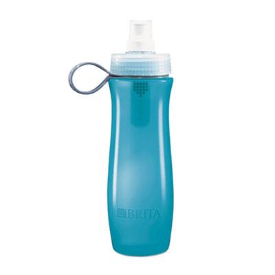 Soft squeeze water filter bottle, 20oz, aqua blue, sold as 1 carton, 6 each per carton