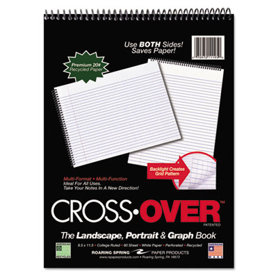 Crossover notebook, 8-1/2 x 11-1/2, 80 pgs, white sheets, assorted cover colors, sold as 1 each