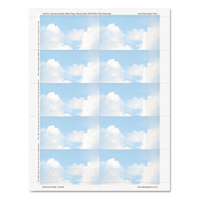 Clouds design business suite cards, 3 1/2 x 2, 65 lb cardstock, 250 cards/pack, sold as 1 package