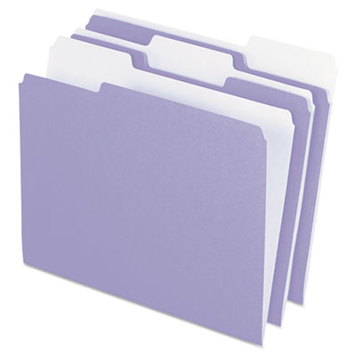 Colored file folders, 1/3 cut top tab, letter, lavender/light lavender, 100/box, sold as 1 box, 100 each per box