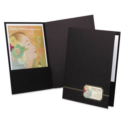 Monogram series business portfolio, premium cover stock, black/gold, 4/pack, sold as 1 package