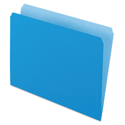 Colored file folders, straight cut, top tab, letter, blue/light blue, 100/box, sold as 1 box, 100 each per box