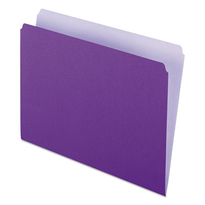 Colored file folders, straight top tab, letter, lavender/light lavender, 100/box, sold as 1 box, 100 each per box