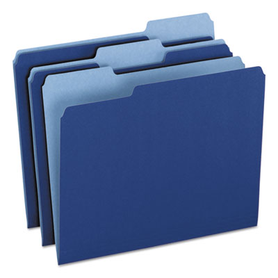 Colored file folders, 1/3 cuttop tab, letter, navy blue/light navy blue, 100/box, sold as 1 box, 100 each per box