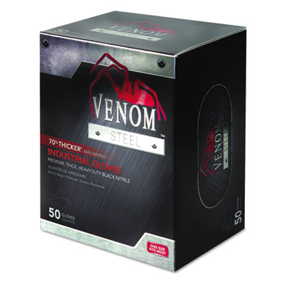 Venom steel industrial nitrile gloves, x-large, black, powder-free, 50/box, sold as 1 box, 50 each per box