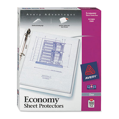 Top-load sheet protector, economy gauge, letter, clear, 100/box, sold as 1 box, 100 each per box