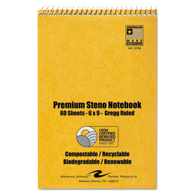 Usda certified bio-preferred steno book, gregg, 6 x 9, 60 pages, white, 12/pack, sold as 1 package