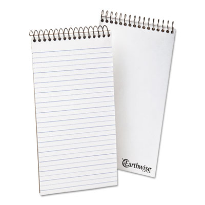 Earthwise recycled reporter's notebook, pitman rule, 4 x 8, white, 70 sheets, sold as 1 each