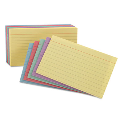 Ruled index cards, 5 x 8, blue/violet/canary/green/cherry, 100/pack, sold as 1 package