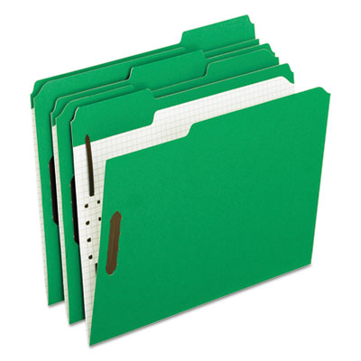 Colored folders with embossed fasteners, 1/3 cut, letter, green/grid interior, sold as 1 box, 50 each per box