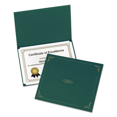 Certificate holder, 11 1/4 x 8 3/4, green, 5/pack, sold as 1 package