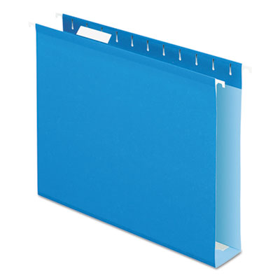 "Reinforced 2"" extra capacity hanging folders, 1/5 tab, letter, blue, 25/box, sold as 1 box, 25 each per box"