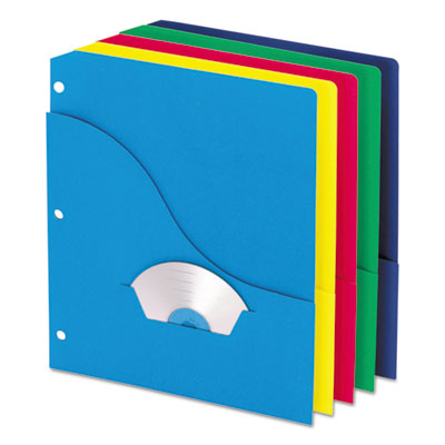 Wave slash pocket project folders, 3 holes, letter, five colors, 10/pack, sold as 1 package