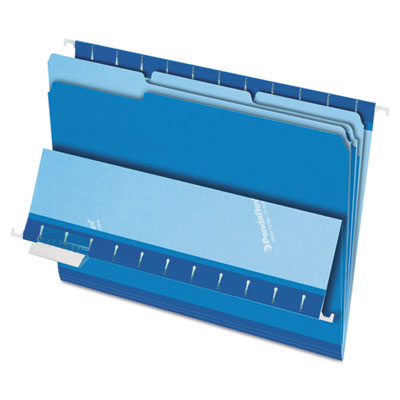 Interior file folders, 1/3 cut top tab, letter, blue 100/box, sold as 1 box, 100 each per box