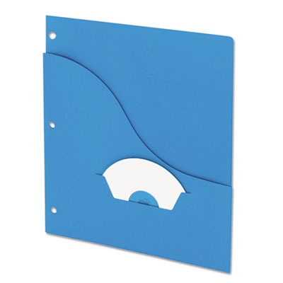 Essentials slash pocket project folders, 3 holes, letter, blue, 25/pack, sold as 1 package