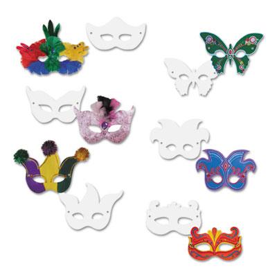 Die cut mardi gras masks, paper, 6 styles, 9 x 4, white, 24/pack, sold as 1 package