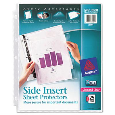 Secure side-load sheet protectors, heavy gauge, letter, diamond clear, 25/pack, sold as 1 package