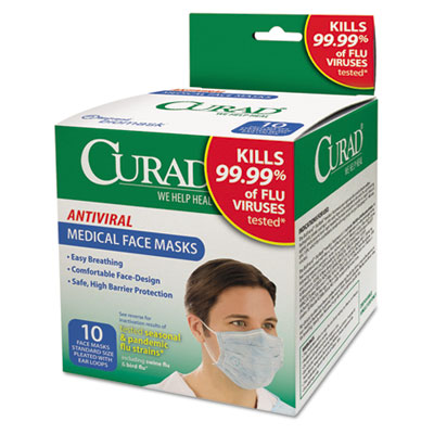 Antiviral medical face mask, pleated, 10/box, sold as 1 box, 10 each per box