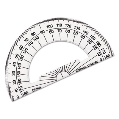 "Open center protractor, plastic, 4"" ruler edge, clear, sold as 1 each"