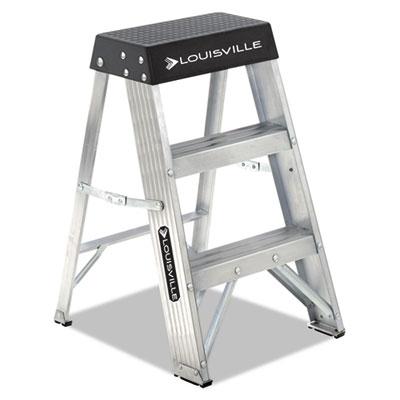Aluminum step stool, 17w x 18 1/4 spread x 26h, aluminum/black, sold as 1 each