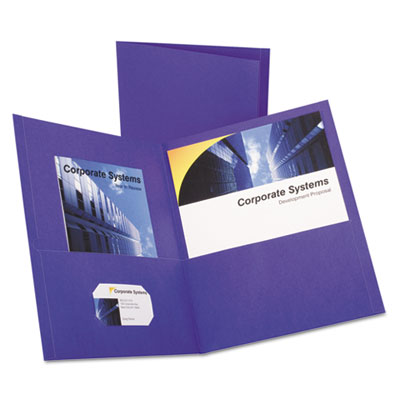 Twin-pocket portfolio, embossed leather grain paper, purple, 25/box, sold as 1 box, 25 each per box