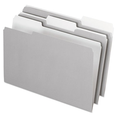 Interior file folders, 1/3 cut top tab, legal, gray, 100/box, sold as 1 box, 100 each per box