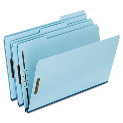 "Pressboard folders, 2 fasteners, 1"" expansion, 1/3 cut, legal, blue, 25/box, sold as 1 box, 25 each per box"