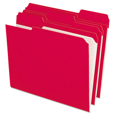 Reinforced top tab file folders, 1/3 cut, letter, red, 100/box, sold as 1 box, 100 each per box