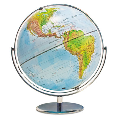 12-inch globe with blue oceans, silver-toned metal desktop base,full-meridian, sold as 1 each