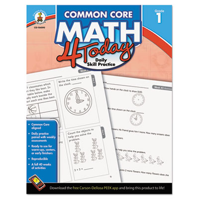 Common core 4 today workbook, math, grade 1, 96 pages, sold as 1 each