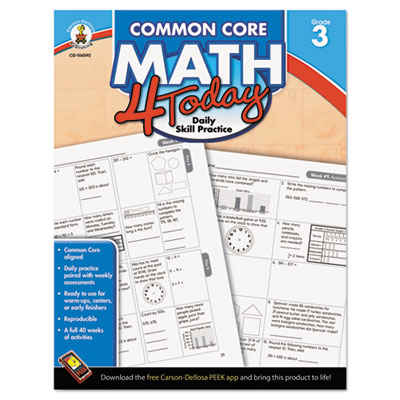 Common core 4 today workbook, math, grade 3, 96 pages, sold as 1 each